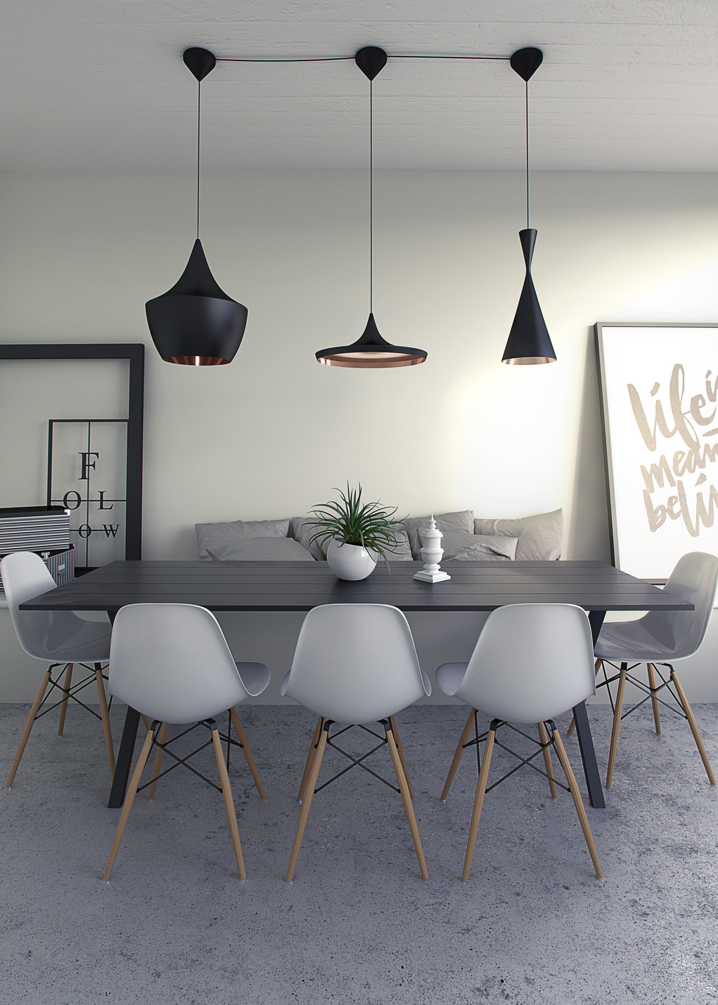 Architecturual Visualisation, Interior CGI, Eames Chairs and Tom Dixon lights