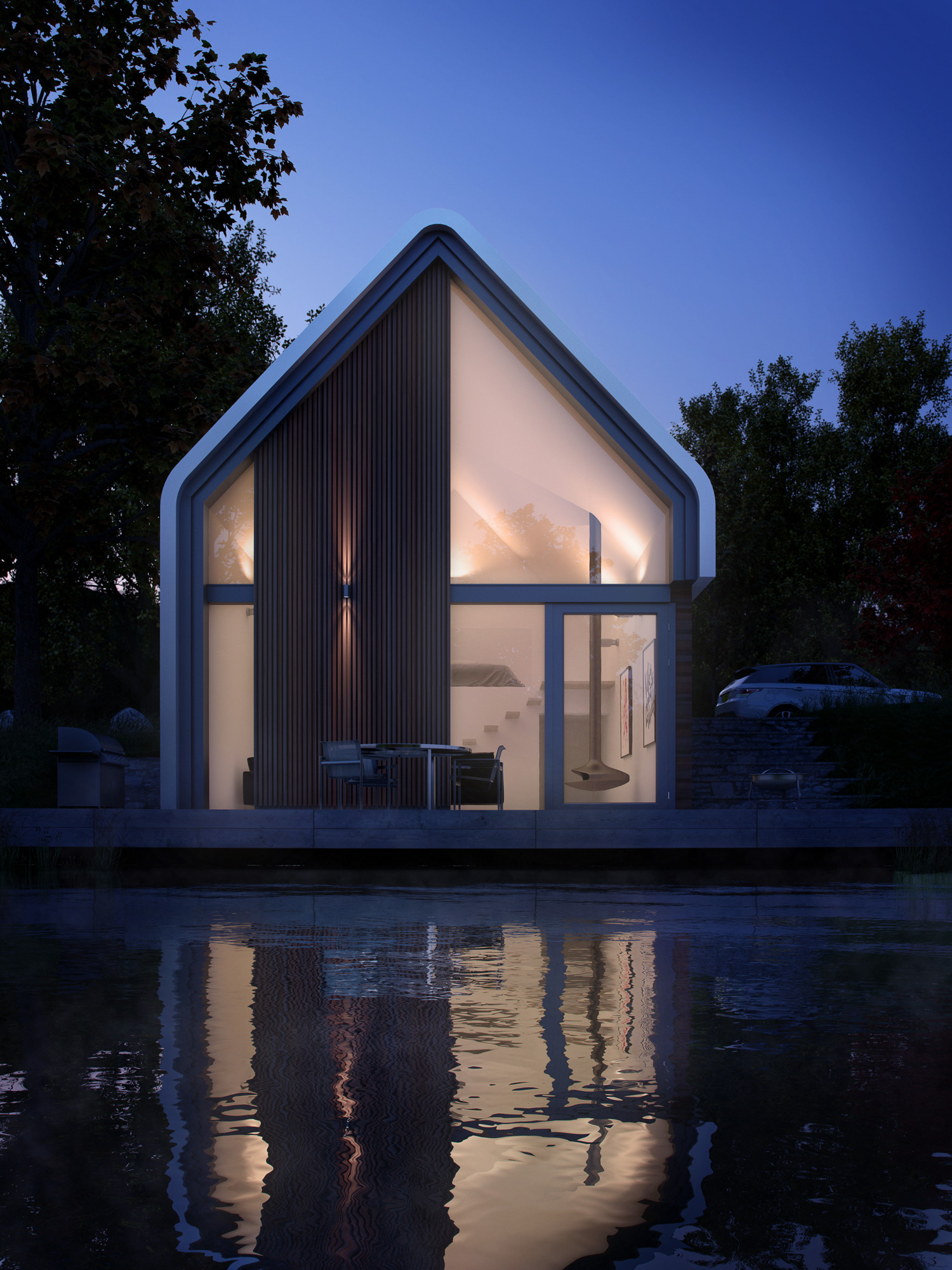 Lake house, Dusk, Night, Architectural Visualisation, CGI